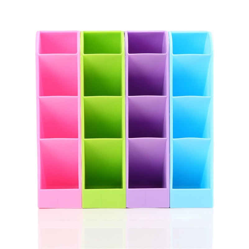 4 Grids Stationery Desktop Storage Box Case Make Up Holder Pen Pencil Organizer