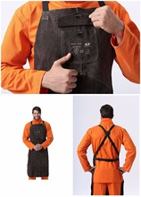 Tools - Garden Tools - Leather Welding Apron Welder Protect Clothing Carpenter Blacksmith Gardening Work Cowhide Clothing 95X56CM Charcoal Brown Color