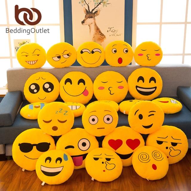 BeddingOutlet Cute Emoji Cushion Home Smiley Face Pillow Stuffed Toy Soft Plush For Sofa Car Seat Diameter 32cm Funny Cushion