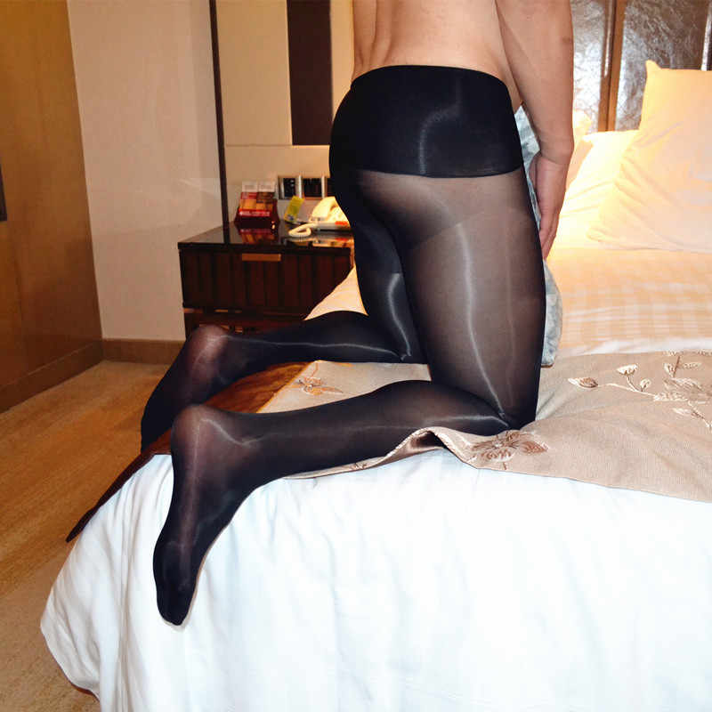189a75759 ... Sexy Male Oil Glossy Sheer Pantyhose with Cock Trunk Sheath Stockings  Tights Hosiery Sissy Underwear Oily
