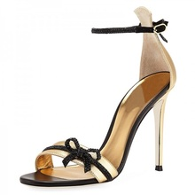купить High Heels Sandals Women Black and Gold Bow Ankle Strap Heels Sandals Peep Toe Buckle Strap Sandals Party Dress Shoes Size 35-42 дешево