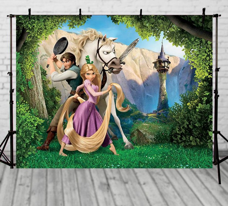 Princess Tangled Prince Forest Tree Green Grass Background Vinyl cloth High Computer printed Painted children photo backdrop цена и фото