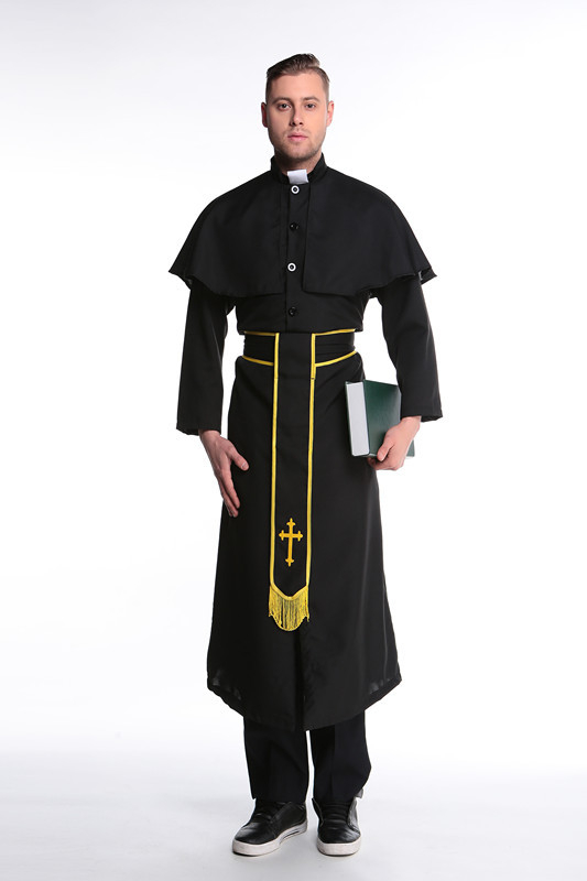 Halloween Adult Man Missionary Religious Priest Costume Christian Missionary Cosplay Party Fantasia Fancy Dress