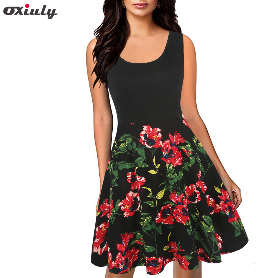 Oxiuly Floral Print Summer Dress Women 2017 Sleeveless Tunic 50s Vintage Dress Elegant Patchwork Rockabilly Party Dress Sundress