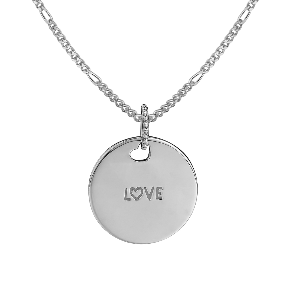 925 Sterling Silver Love Disc Necklace Pendant Fits DIY Link Necklace For Women