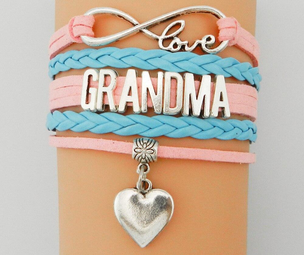 ᐂinfinity love grandma bracelet personalized pink velvet leather