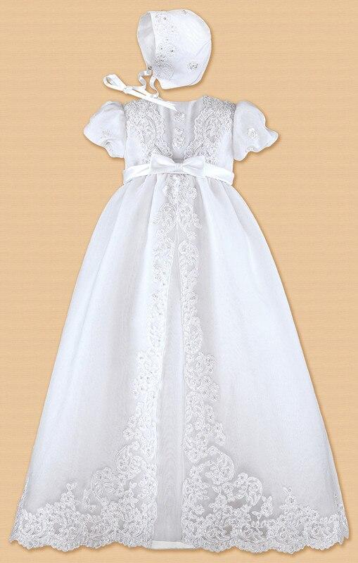 Stunning Lolita Christening Dress Princess Baptism Lace Dress Toddler Robe 0-24month WITH BONNET юбка strawberry witch lolita sk