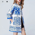 2016 Spring Autumn Winter Styles Women Blue White Porcelain Robe Vintage Print Long Loose Cotton Trench Coat H036