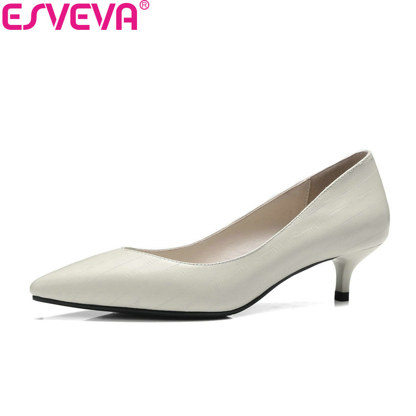 ESVEVA 2018 Women Pumps Dress Thin Med Heels Cow Leather PU Spring and Autumn Black Pointed Toe Slip on Ladies Shoes Size 34-41 esveva 2018 women pumps shoes slip on thin super high heels spring and autumn peep toe platform 5 5cm women shoes size 34 43