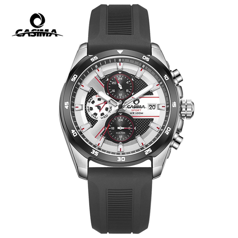 Montre Homme CASIMA Sport Watch Men Waterproof Silicone Band Week Date Quartz Wrist Watch Dual Time Clock Saat Relogio Masculino casima brand week date mechanical watch men sapphire crystal business automatic wrist watch waterproof clock relogio masculino