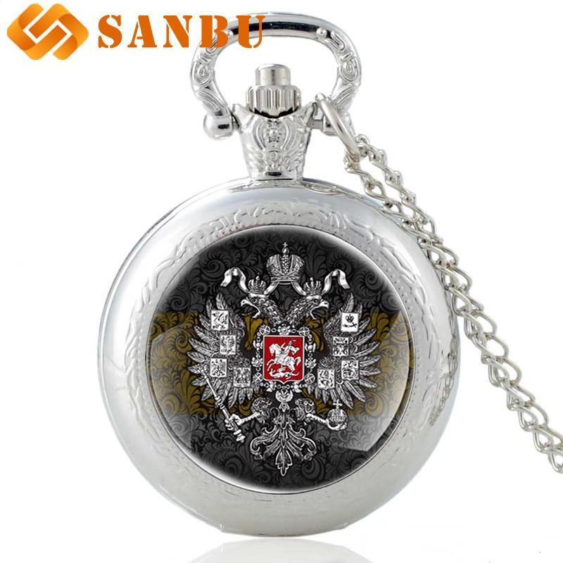 New Arrivals Soviet Union National Emblem Pocket Watch Vintage Men Women Bronze Quartz Necklace Watches