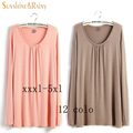 2016 5XL 4XL XXXL Autumn Spring Big size Women Clothing Casual O-neck Long sleeve PLUS Cotton Loose T-shirt Tops Tee blusas