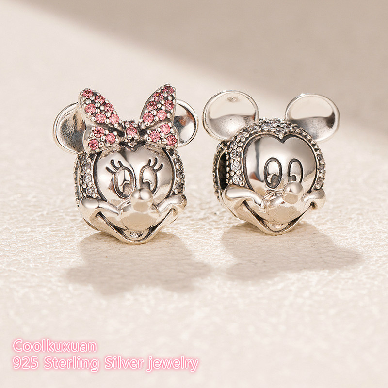 2018 Winter 925 Sterling Silver Shimmering Minnie And Mickey Portrait Clip Beads Fit Original Pandora Charms Bracelet Jewelry