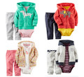 Age 0-3 Baby Boy  Girl Romper Baby Cartoon Suits Long Sleeve Three - piece Clothes Baby Clothing set Spring Autumn 80-90-95