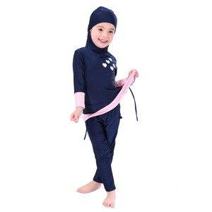 Image 3 - Dziewczyny muzułmańskie stroje kąpielowe islamski dzieci dwuczęściowe stroje kąpielowe z długim rękawem arabski strój plażowy pływanie stroje do nurkowania Burkinis