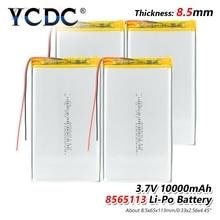 1/2/4 шт. 3,7 В 10000 мАч литий-полимерный Батарея 8565113 для DVD Tablet MID gps электрические игрушки Tablet Оборудование для psp POS машины, bluetooth Динамик