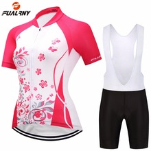Brand Summer Women Cycling Clothing Set Short Sleeve Breathable Road Mountain Bike Bicycle Clothes MTB Jersey Sets Pink