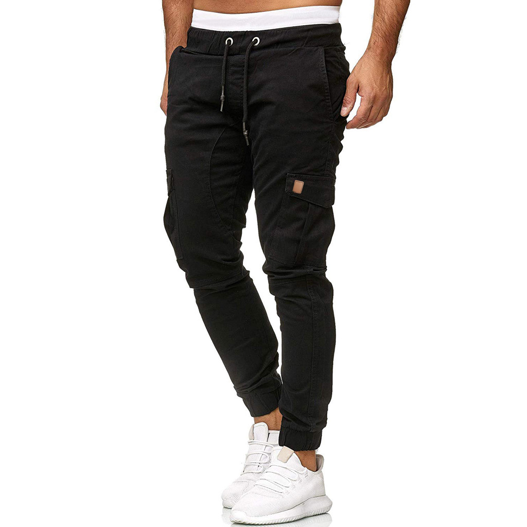 Men Sweatpants Trousers Joggings Baggy-Pockets Sport Elastic Casual Solid Slacks -Pants