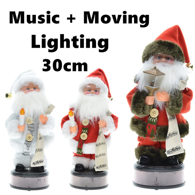 30cm new year christmas ornaments electric santa claus musical dancing plush dolls toys gifts for child