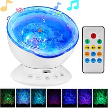 Remote Control Ocean Wave Projector 12LED &7 Colors Rotating Night Light with Mini Music Player for kids Living Room and Bedroom