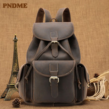 Crazy horse leather vintage mens backpack head layer cowhide large capacity fashion schoolbag men