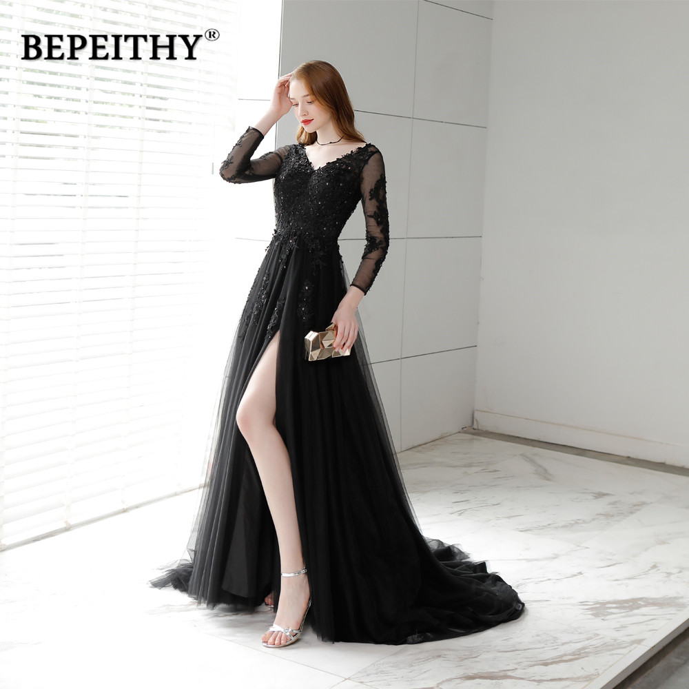 Charming Long Evening Dress Party Elegant 2019 Vestido Longo Sexy Backless Court Train Black Prom Dresses Full Sleeves New