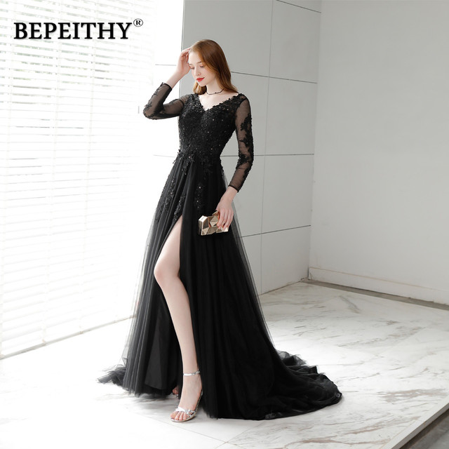 Charming Long Evening Dress Party Elegant 2019 Vestido Longo Sexy Backless Court Train Black Prom Dresses Full Sleeves New