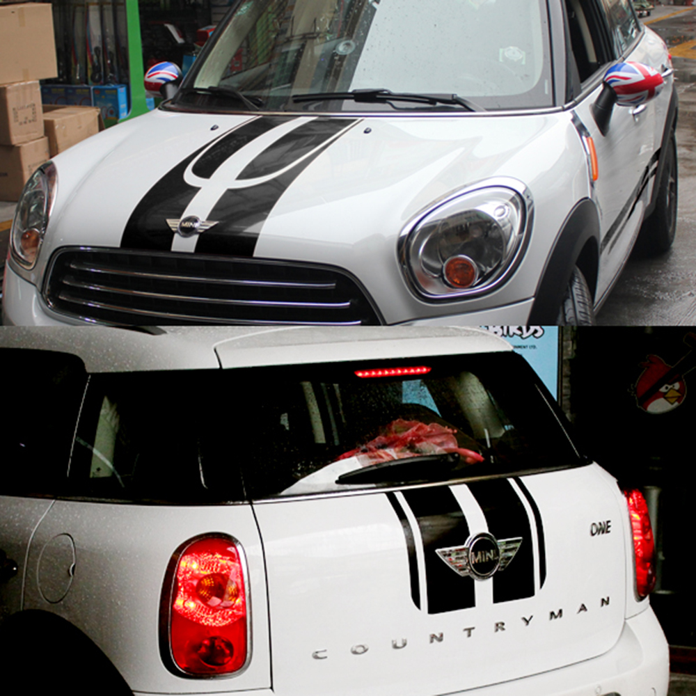 Hood+Trunk Engine+Rear Line Car Stickers And Decals Decoration Car-styling For Mini Cooper Countryman R60 2011-2015 Accessories aliauto car styling side door sticker and decals accessories for mini cooper countryman r50 r52 r53 r58 r56
