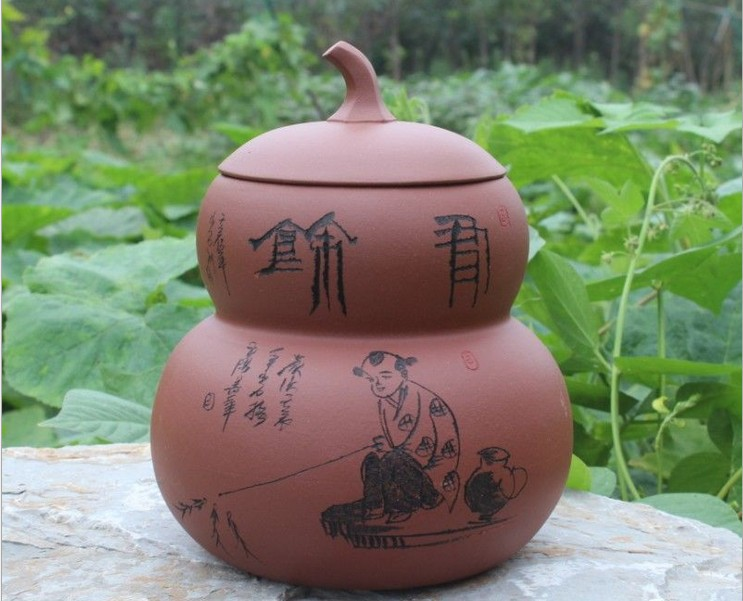 цена на Calabash style Seal Tea caddy Gourd pot Storage tea pots Furniture Accessories