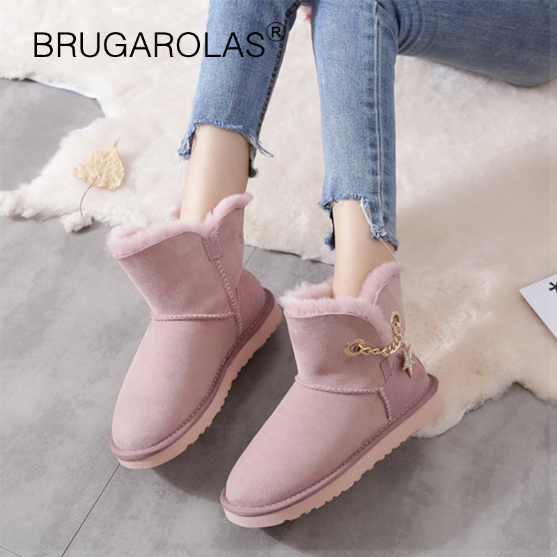 New Genuine sheepskin Leather Snow Boots Winter ladies Boots Australia Real Suede Fur Wool Lined Winter Warm Shoes High Quality цены