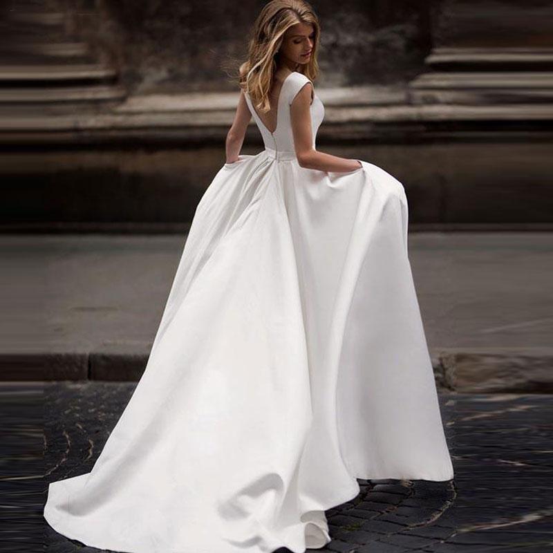 Autumn New Vestidos Novias Boda Wedding Dresses Satin Wedding Bridal Gowns Vestido De Noiva Sheer Sexy V-back Hochzeitskleid