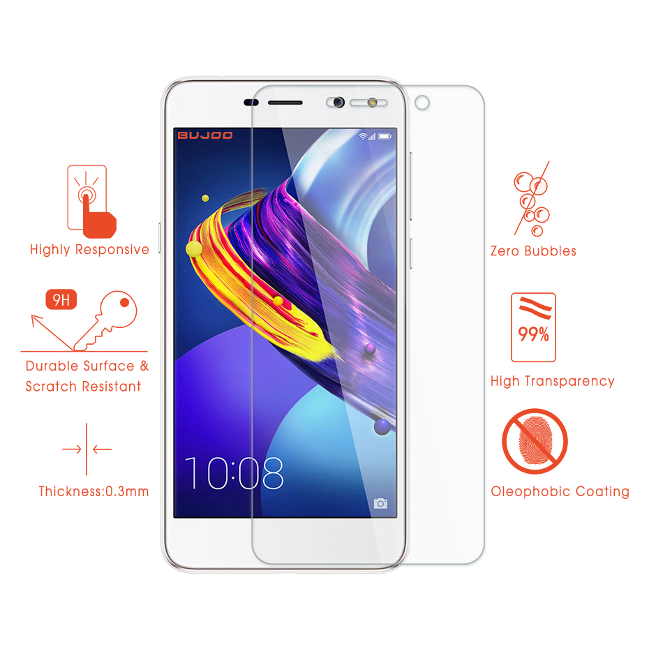 2 Pack 100% Original BUJOO Real 2.5D 0.3mm 9H Clear Screen Protector Tempered Glass For Huawei Honor 6 Play Honor6 Play Film