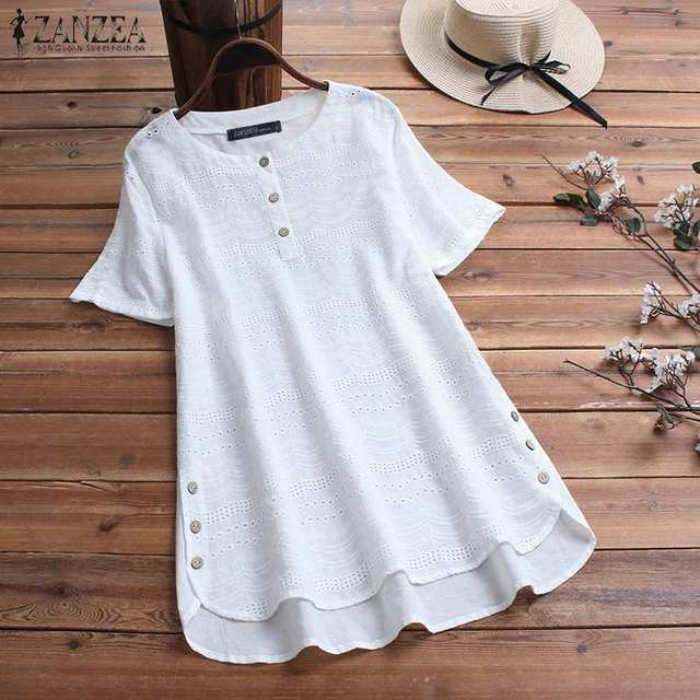 Women's Lace Blouse Fashion Embroidery Tops 2019 ZANZEA Button Short Sleeve Shirts Female Asymmetrical Blusa Plus Size Tunic 5XL