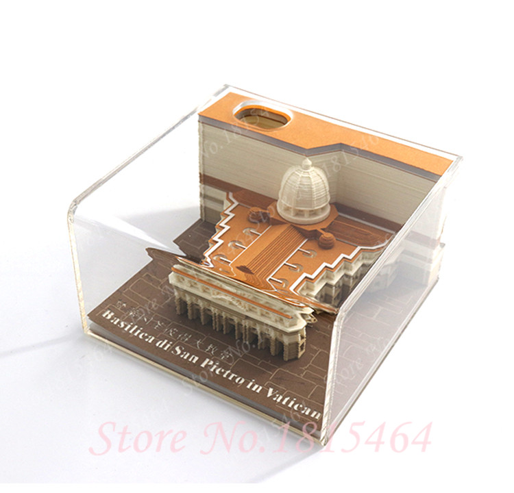 3D S.Peter Cathedral Model Creative Paper Net Red Stereo Stickers Present World Architectural DIY Culture Model Gift Decoration