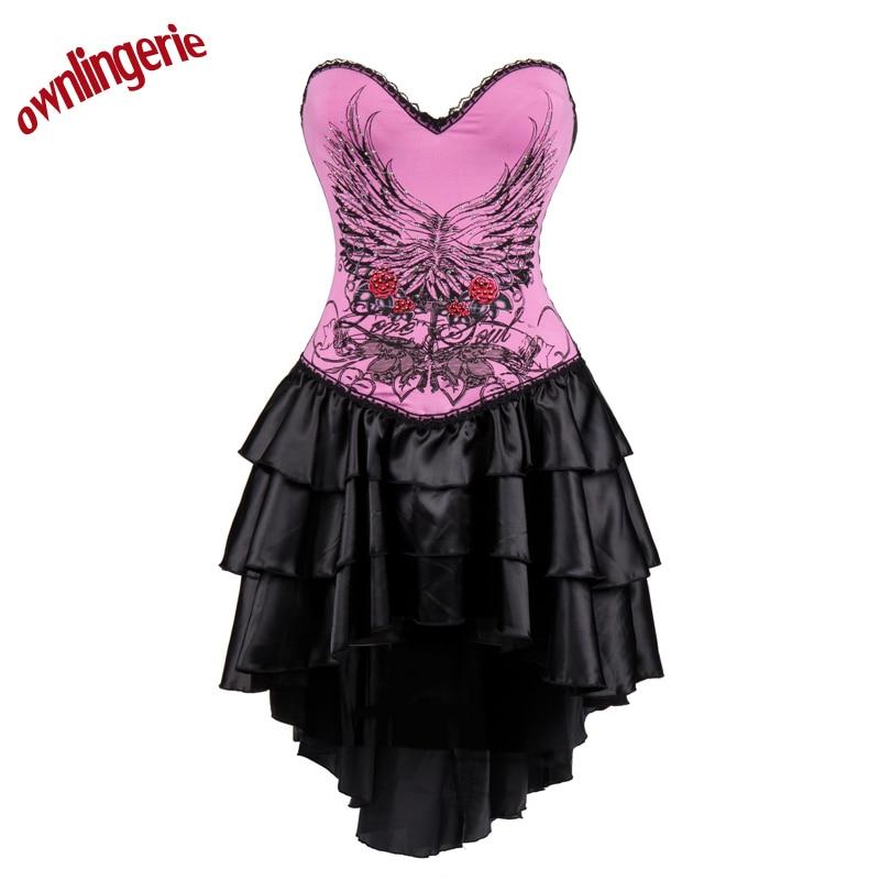 Top taille formateur Corsets et Bustier femmes osez rose Punk robe avec fleur design s-2xl W3488