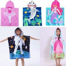 Детское пляжное полотенце с капюшоном и рисунком, супер впитывающее банное полотенце, полотенце для бассейна, детский халат, накидка Toalha