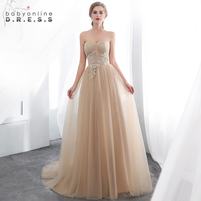 2019 Robe de Soiree Longue Beaded Appliques Strapless Evening Dress  Champagne Tulle Evening Dresses Long Evening Gown Prom Dress 788fc9828292