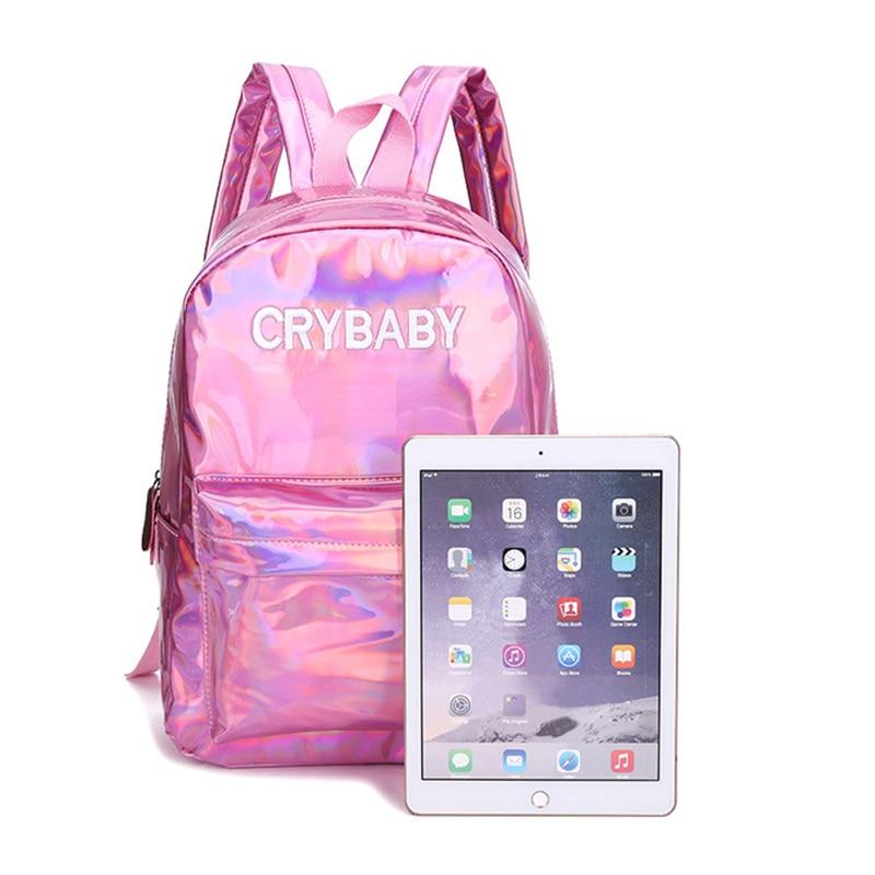 HTB1FzG7bEGF3KVjSZFvq6z nXXaB Yogodlns 2019 Holographic Laser Backpack Embroidered Crybaby Letter Hologram Backpack set School Bag +shoulder bag +penbag 3pcs