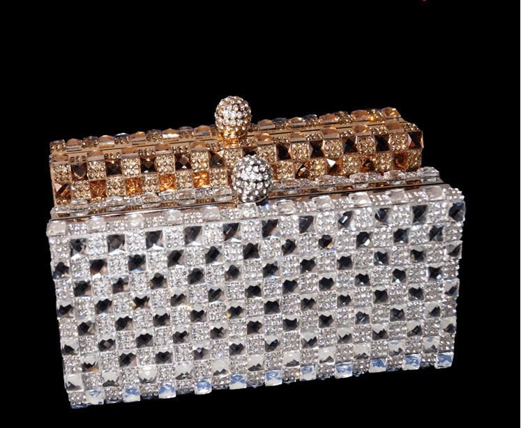 (You Sure Love ) Luxury Glass Diamond Evening Bags Bling Bling Classic Rhinestone gold Clutch bag wedding bridal purse W47