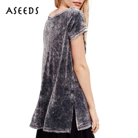 Summer 2017 Grey Pink T Shirt Women Velvet Tops Solid Short Sleeve O Neck Loose Tees