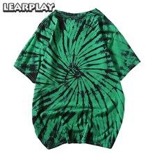 Tie Dye Printed Short Sleeve Swirl Cotton T-Shirts Men 2019 Summer Hip Hop Streetwear Tee Shirts Fashion Casual Round Neck Tops tie dye printed short sports leggings