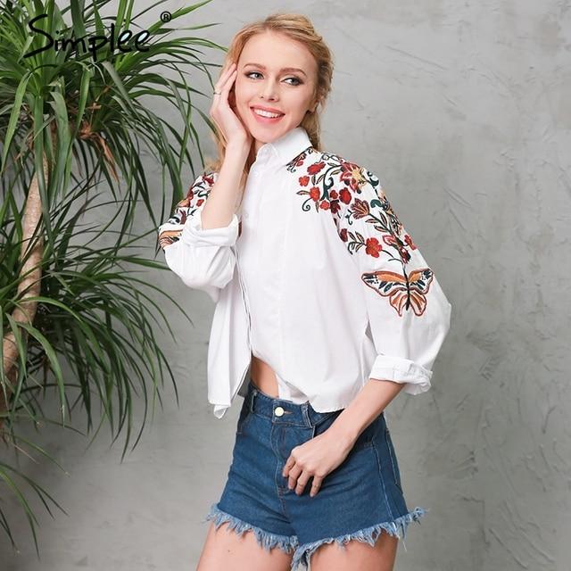 Simplee Вышивка белый блузка рубашка женщины топы Короткие длинным рукавом женские блузки сорочка Повседневная 2017 летом пляж blusas