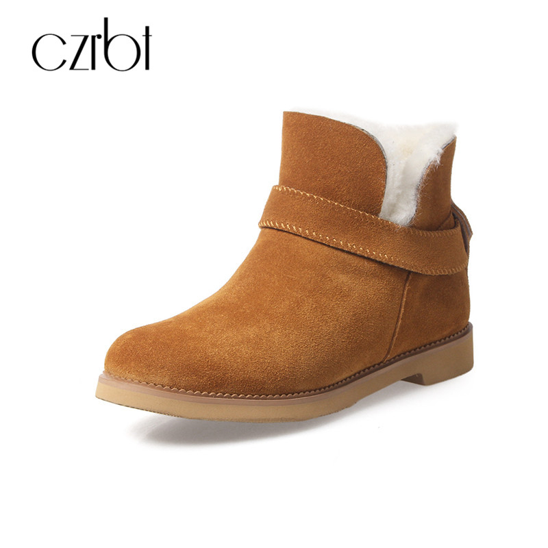 CZRBT Warm Snow Boots 2017 Ug Australia Classic Genuine Suede Leather Winter Women Boots Slip On Ankle Chelsea Boots Large Size 2017 sales of the most popular hot winter boots women ug australia boots women slip warm women s boots in the snow size 34 44