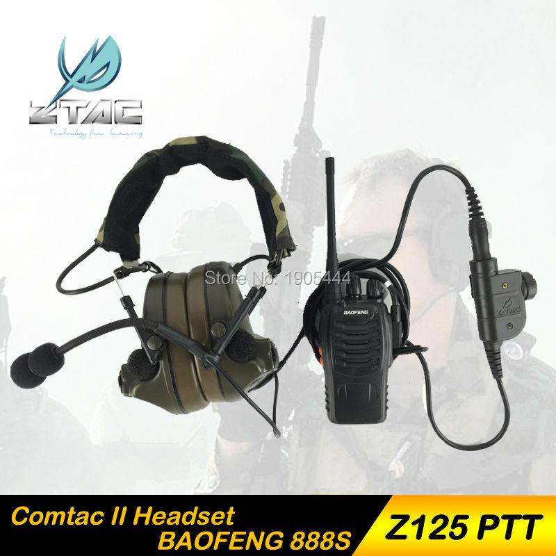 Z 041 이어폰 요소 Z- 전술 Comtac II Airsoft 페인트 볼 사냥 Z-TAC 헤드셋 Z125 PTT kenwood 라디오 세트