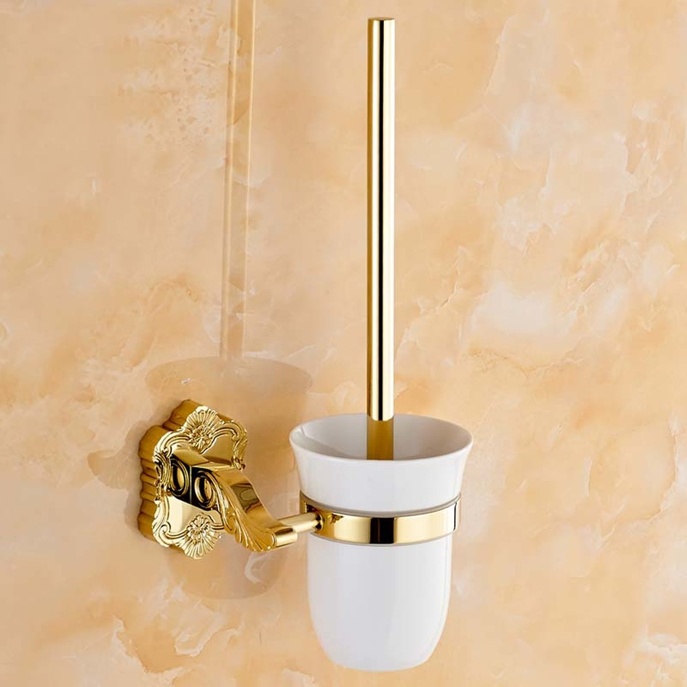 European gold-plated carved toilet brush with ceramic cup holder Bathroom hardware accessories lo81357 simple bathroom ceramic wash four piece suit cosmetics supply brush cup set gift lo861050
