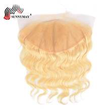 Sunnymay 13x6 Blonde Blonde Frontal Closure 613 Color Brazilian Virgin Body Wave Menneskehår Frontal With Baby Hair Pre Plucked