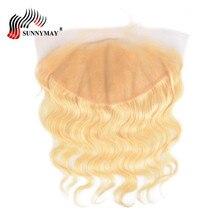 Sunnymay 13x6 בלונדינית תחרה סגירה פרונטלית 613 צבע ברזילאית וירג 'ין גוף גל אדם שיער חזיתית עם שיער מותק מראש