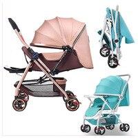 Covertible ручка Портативный легкий Детские коляски автомобиля высокого пейзаж могут сидеть лжи сложил новорожденного корзину коляска