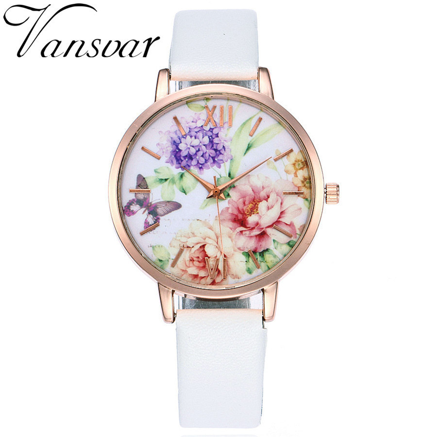 Vansvar Brand Women Fashion Luxury Butterfly Flower Watch Rose Gold Wtach Leather Quartz Women Wristwatches Ladies Dress Watches gaiety women brand watches luxury rose gold leather quartz ladies wristwatches fashion sport women casual dress watch clock g447