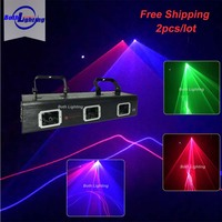 3 عدسة RGB أحمر أخضر أزرق كامل اللون الرسوم المتحركة مسح شعاع الليزر مصابيح جهاز عرض DMX512 برو DJ حفلة KTV بار عرض المرحلة الإضاءة-في تأثير إضاءة المسرح من مصابيح وإضاءات على